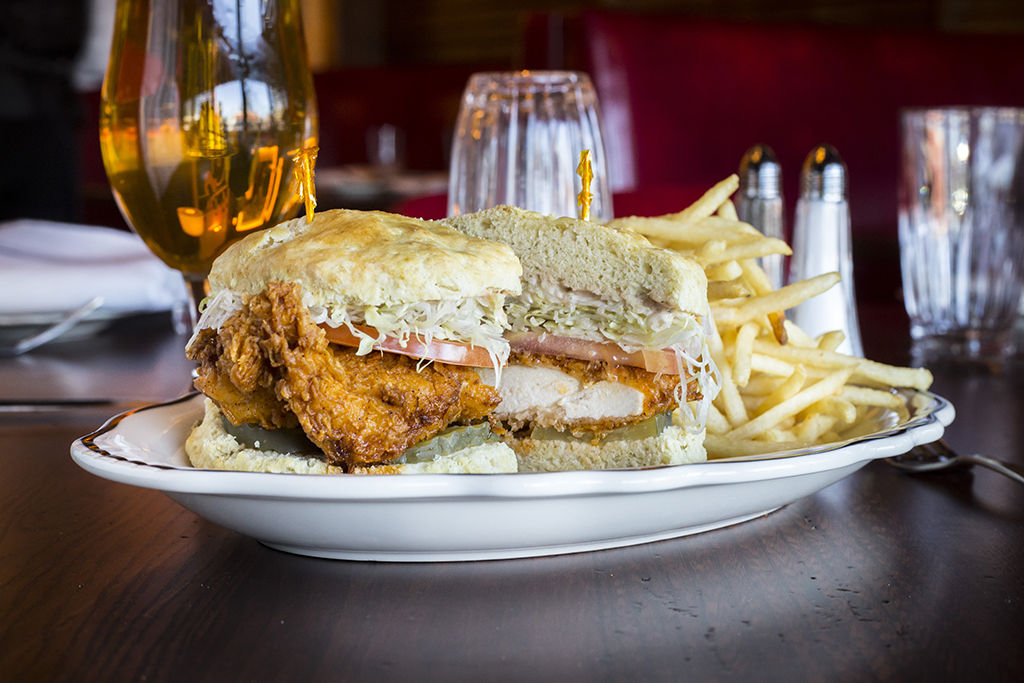 Crispy hot chicken biscuit sandwich