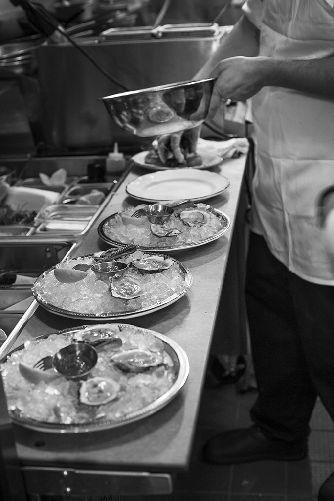 Oysters being prepared in the kitchen